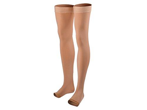 Right Beige Leg Toe Med (Veencare, Open Toe, Thigh High, 20-30 mmHg, Compression Socks, Medical, Pregnancy, Athletic, Varicose Vein, Edema, Travel, Nursing, Beige, X-Large, Unisex)