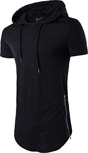 Sportides Mens Casual Longline T-Shirt Short Sleeve Hoodies Zipper Hip Hop Tee Tops JZA028 Black L by Sportides
