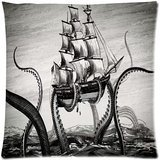 Sofa Pillowcase Custom Comfortable Style Zippered Pillowcase, Art Paintings Color ink octopus pirate ship PillowCase Pillow Cases Covers Standard Size 16*16 inches