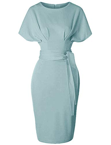 GownTown Women's 50s 60s Vintage Sexy Fitted Office Pencil Dress Light Blue
