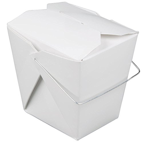 JA Kitchens Chinese Take Out Food Boxes With Wire Handle, 16 oz, Pack of 50