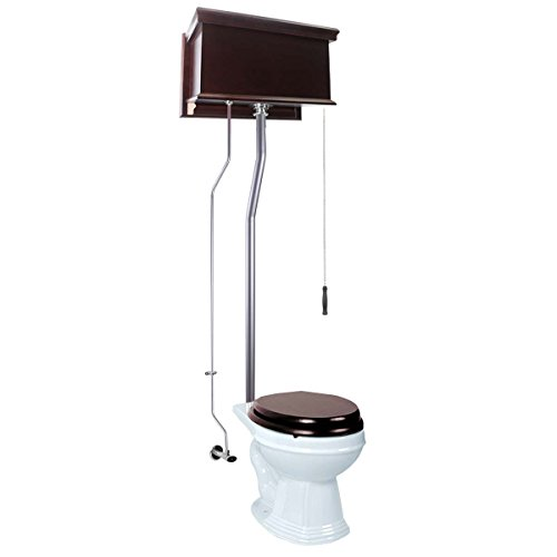 Renovator's Supply Dark Oak High Tank Pull Chain Toilet Flat Tank Round Bowl High Tank Toilet