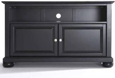 Tv Stands For Flat Screens 42 Display Your TV in Style Black Wood with Cabinet and Adjustable Shelf