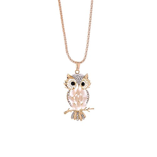 Fashion Women Colorful owl Crystal Rhinestone Cute Pendant Sweater Necklace,Outsta 2019 Fashion Jewelry Hot Sale!Under 5 Dollars Gifts for Her ()