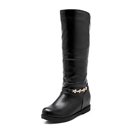 Black High Closed Toe top AgooLar Heels Women's Kitten Solid Round on Boots Pull 7gq5Baxgn