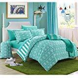 10 Piece Girls Teen Aqua Geometric Themed Comforter FULL SIZE Set, Beautiful Multi Hexagon Pattern, Stylish Horizontal Striped Bedding, All Over Vertical Stripes, Fun Diamond Style, Teal Blue White
