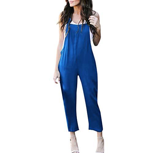 Pengy Women's Soild Jumpsuit Punk Spaghetti Strap Playsuit Comfy Loose Harem One Piece Romper for Lady Blue