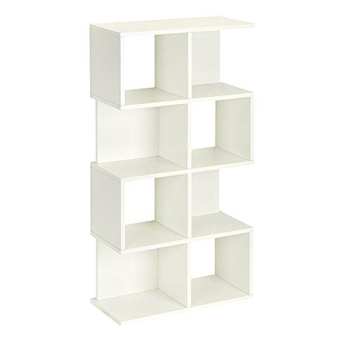 Way Basics Eco 4 Shelf Malibu Bookcase and Storage Shelf, White (made from sustainable non-toxic zBoard paperboard)