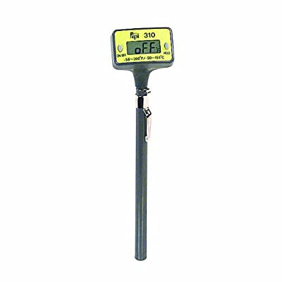 """TPI 310C Auto Field Calibrated Pocket Digital Thermometer with Penetration Tip, Reversible Head, 5"""" Stem, -50 to 150 Degrees C, -58 to 300 Degrees F, Accuracy of + or - 1 Degree C"""