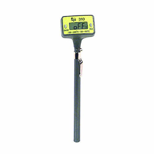 TPI 310C Auto Field Calibrated Pocket Digital Thermometer with Penetration Tip, Reversible Head, 5' Stem, -50 to 150 Degrees C, -58 to 300 Degrees F, Accuracy of + or - 1 Degree C 5 Stem Test Products International Inc