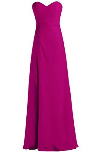 Diseño en forma de corazón de la Toscana novia Rueckenfrei por la noche vestidos de gasa vestido de fiesta largo bola de vestidos de fiesta fucsia