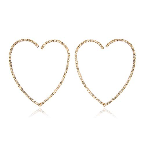 Wire Heart Gold (RIAH FASHION Lightweight Rhinestone Pave Statement Hoop Earrings - Sparkly Bridal Wedding Cubic Zirconia Crystal Wire Round, Teardrop Pear, Heart (Heart - 2