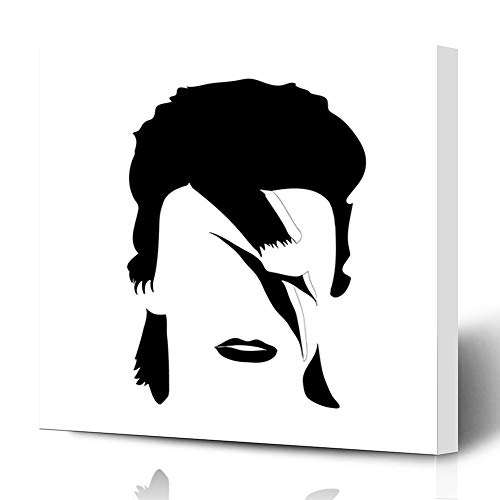 Ahawoso Canvas Prints Wall Art 16x16 Inches Glam Rock David Bowie British Songwriter Actor Graphic Black Brush Drawing Song Decor for Living Room Office Bedroom]()