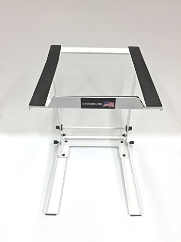 White Foldable PA Mixer Studio Laptop Computer Table Top DJ Rack Stand Mount