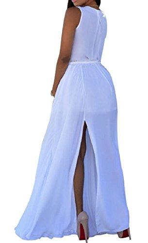 Ainr Femmes Mode Plage Flowy Col V Profond Salut-taille Grande Mousseline Pendule Longue Robe Blanche