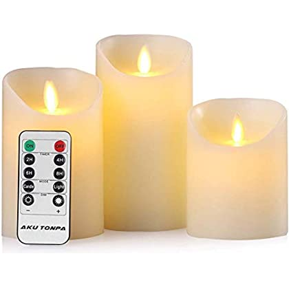 Aku Tonpa Flameless Candles Battery Operated Pillar Real Wax Electric LED Candle Sets with Remote Control Cycling 24…