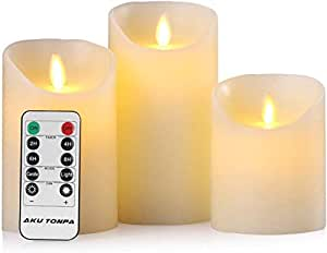 "Flameless Candles Battery Operated Pillar Real Wax Flickering Moving Wick Electric LED Candle Sets with Remote Control Cycling 24 Hours Timer by Aku Tonpa, 4"" 5"" 6"" Pack of 3"
