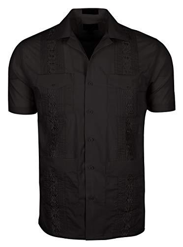 Volcan Men's Short Sleeve Cuban Guayabera Shirts (XL, ()