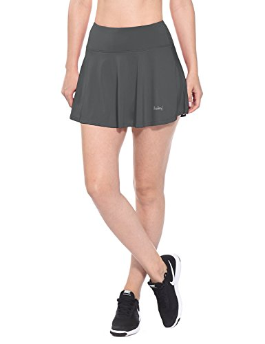 Baleaf Women's Athletic Pleated Tennis Golf Skirt with Pockets Grey Size (Tennis Dri Fit Compression Short)