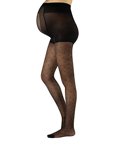 (Sheer Maternity Pantyhose with Polka Dots | Patterned Pregnancy Tights | S, M, L, XL | Black | 20 DEN | Made in Italy (L, Black))