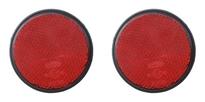A pair of trailer and truck reflectors round stick on 2 x red Pt no. LMX1628 Leisure Mart