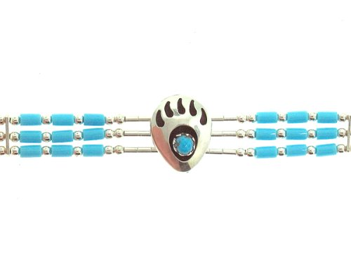 Beautiful! Sterling-silver Southwest Mini-Bear Paw Three synthetic Turquoise strand Liquid silver-Bracelet