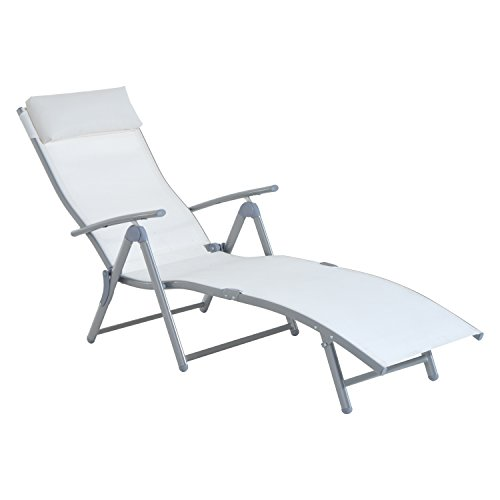 Outsunny Patio Reclining Chaise Lounge Chair with Cushion (Cream White) (Outdoor Patio Chaise Lounge)