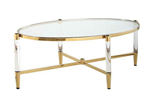 Brass Glass Coffee Table - Milan CT-OVL Dante Cocktail Table, Brass