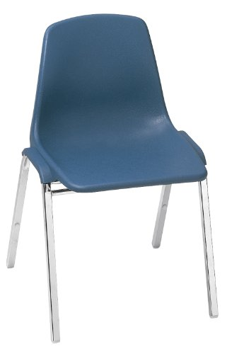 NPS 8125 Polyshell Stack Chair, 300 lbs Weight Capacity, 9-1/4'' Length x 19-1/4'' Width x 31'' Height, Navy Blue by NPS