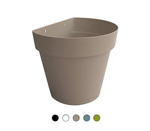 TABOR TOOLS Plastic 8.5 Inch Wall Planter Pot for Vertical Flower Garden, Living Wall or Kitchen Herbs, with Attached Saucer. VEM604A. (Grey)
