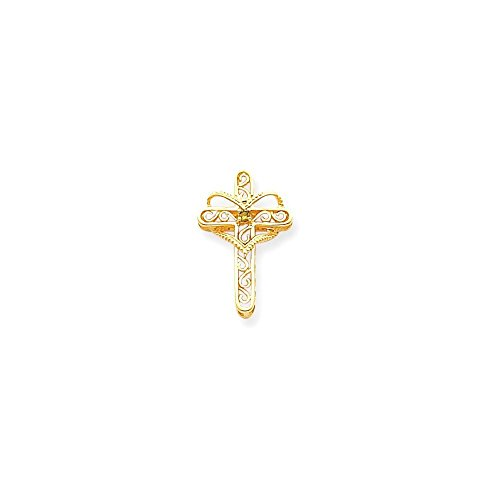 Jewels By Lux 14k Polished Filigree 1-Stone Mothers Cross Pendant Mounting