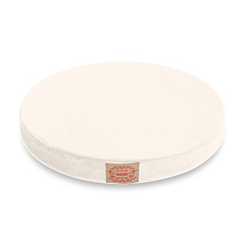 Shinnwa Polyester Supper Soft Cushion Round MemoryFoam Seat Cushion Short Plush LumbarSupportPillow Home Office Chair Pad White (White Seat Cushion)