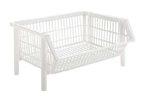 Jumbo Stacking Basket Pack White