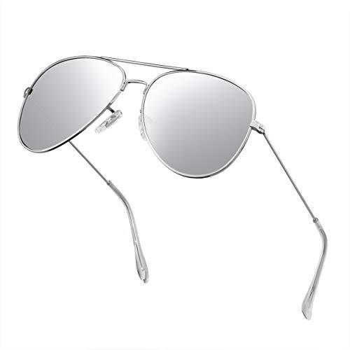 Polarized Aviator Sunglasses for Men Metal Mens Sunglasses Driving Unisex Classic Sun Glasses for Men/Women Silver