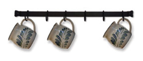 Iron 6 Mug Cup Rack Wall Mount Hanger - Black Metal