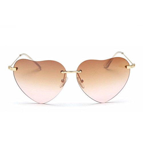 Womens Thin Metal Heart Shaped Rimless Gradient Lenses Fashion Cupid Sunglasses - Collection Sunglasses Fastrack New