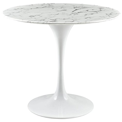 """Modway Lippa 36"""" Mid-Century Modern Kitchen and Dining Table with Round Artificial Marble Top and White Pedestal Base"""