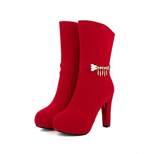 AllhqFashion Damen Mitte-Spitze Hoher Absatz Eingelegt Mattglasbirne Stiefel mit Anhänger Rot