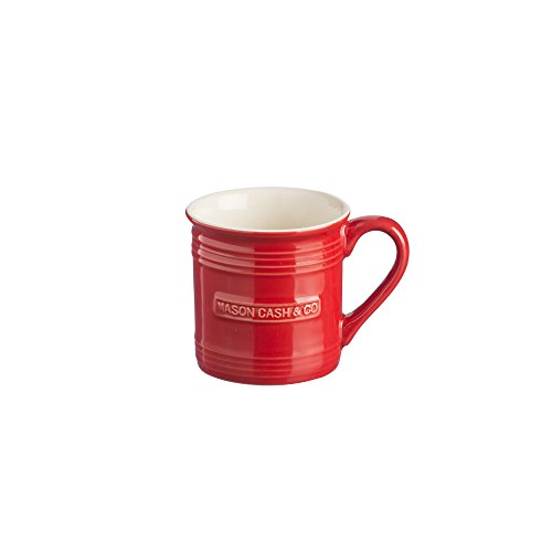 Mason Cash Original Stoneware Espresso Mug, 4-Fluid Ounces, Red Shape Demitasse Saucer