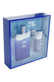 Cool Water Deep by Zino Davidoff for Men - 2 Pc Gift Set 3.4oz EDT Spray, 2.4oz Deodorant Stick ()