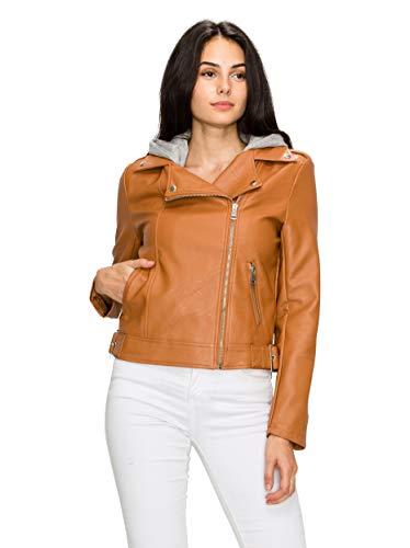 (Lock and Love LL MBJ WJC1902 Women's Faux Leather Moto Biker Short Coat Jacket S Cognac)