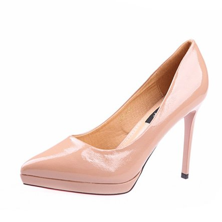 Nude Leisure 10 Mouth 5Cm Heels Shallow Pointed Lady 35 Fine Leather Work Spring Elegant With Shoes Waterproof MDRW Sexy Patent ntRY0T