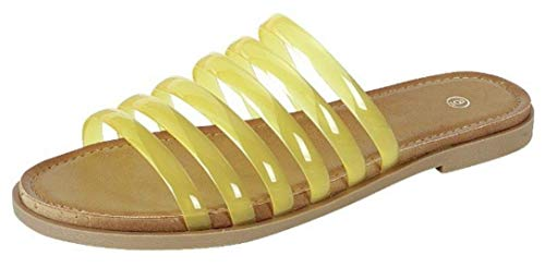 Harper Shoes Womens Strappy Slip-On Flat Slide Jelly Sandal Over The Toe Straps, Yellow, 9