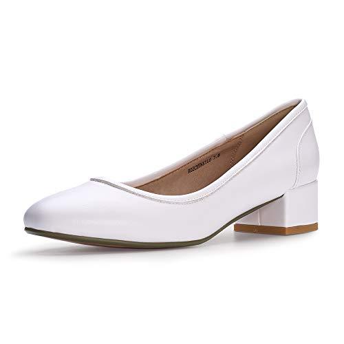 IDIFU Women's RO2 Fashion Chunky-LO Closed Square Toe Low Chunky Block Heel Slip on Pumps Shoes (9.5 M US, White Pu)