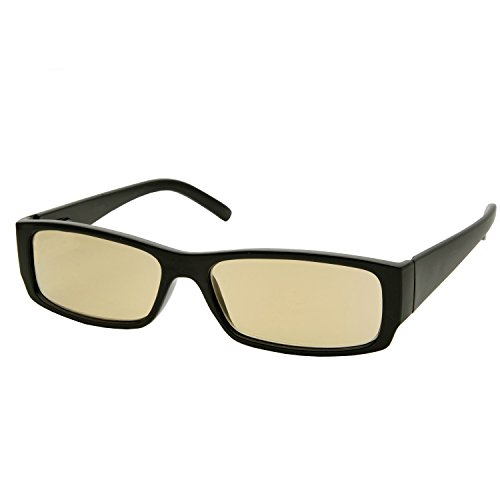 Rectangle Computer Reading Glasses - Anti-Glare, Anti-Fatigue Amber Tinted Lenses - - Computers With That Glasses Help