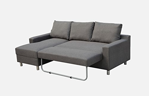New Sectional Sofa (New Spec Turnin Fabric  Sectional Sofabed with Left Facing Built in Ottoman, Grey)