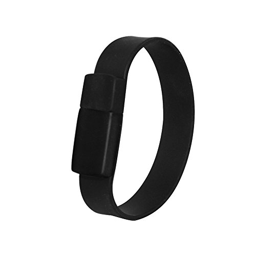 - Usbkingdom 64GB USB 2.0 Flash Drive Soft Silicone Wristband Bracelet Style Thumb Drives Memory Stick Pendrive 8 Inch Length (Black)