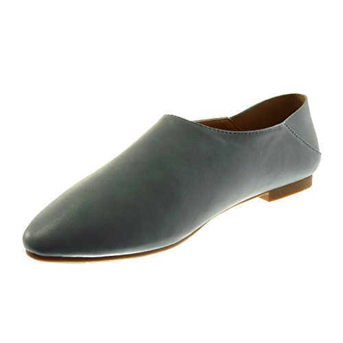 Angkorly Damen Schuhe Mokassin - Slip-On - Flexible Flache Ferse 1 cm Blau