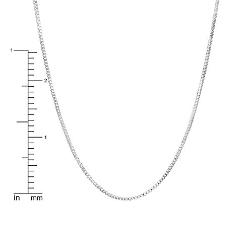 Dazzlingrock Collection Box Chain Necklace 18 inch long 0.50 mm thickness Rhodium Plated Spring Ring Clasp, Sterling Silver ()