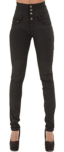 Onlyoustyle Mujer Vaqueros Moda Cintura Alta Denim Largo Pantalón con Botón Sexy Skinny Jeans Negro